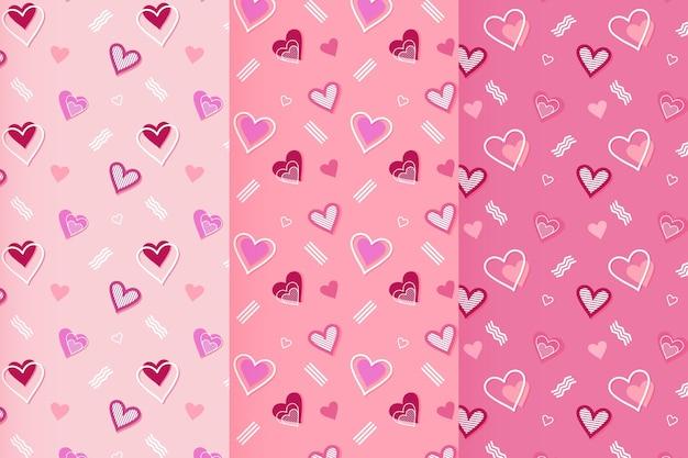 평평한 발렌타인 데이 패턴 팩 무료 벡터