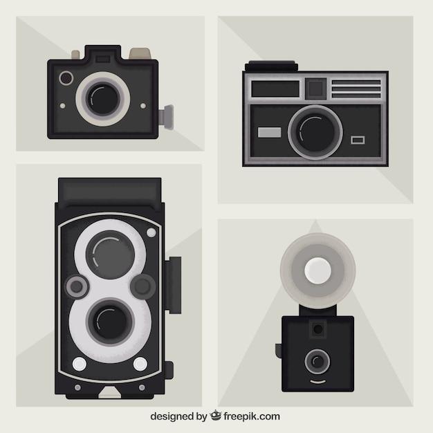 Pack of flat vintage cameras