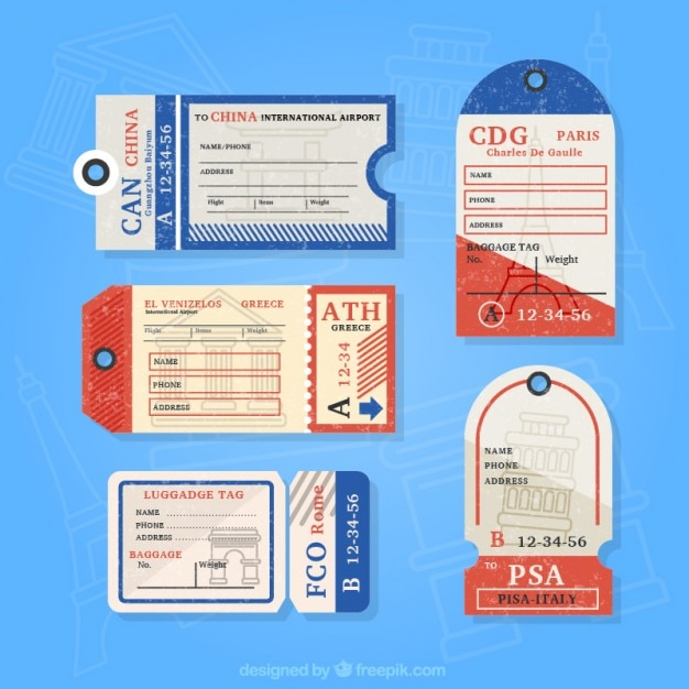 Pack Of Flat Vintage Luggage Tags Vector  Free Download
