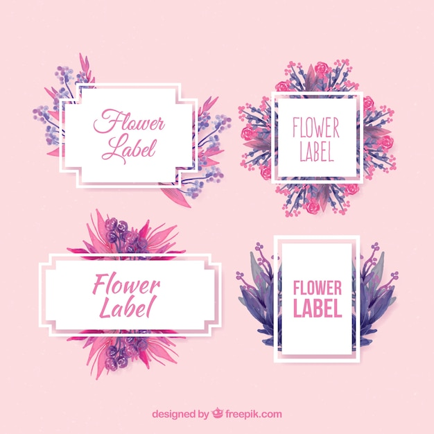 Pack of floral stickers in watercolor style Free Vector