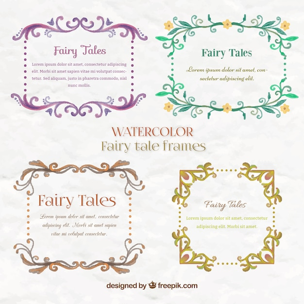 Pack of floral watercolor fairy tale frames Vector | Free Download