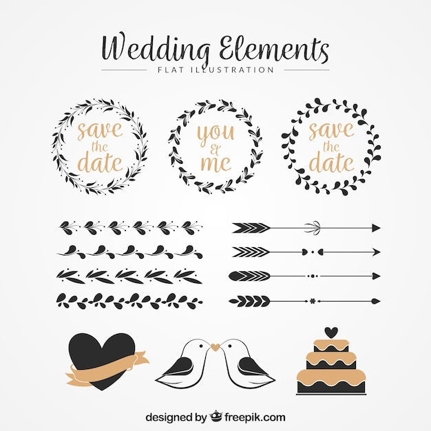 Pack of floral wreaths and other vintage wedding ornaments Free Vector