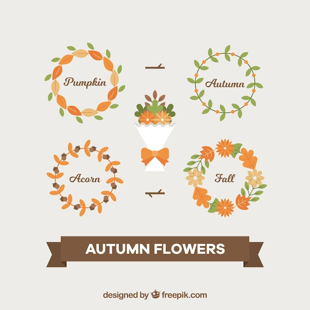Pack of flowers bouquet and autumn\ wreaths
