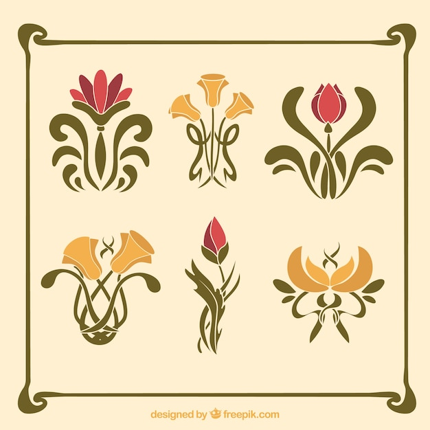 pack of flowers in art nouveau style vector free download puppy clipart free puppy clipart free