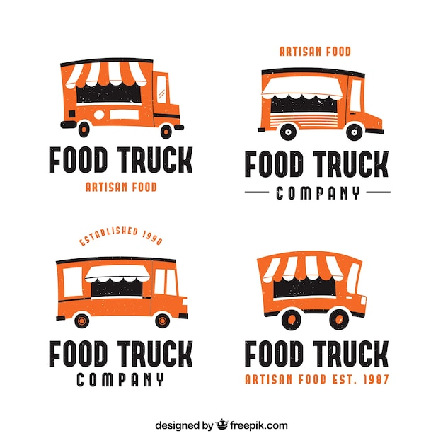 Pack of food truck logos with flat design