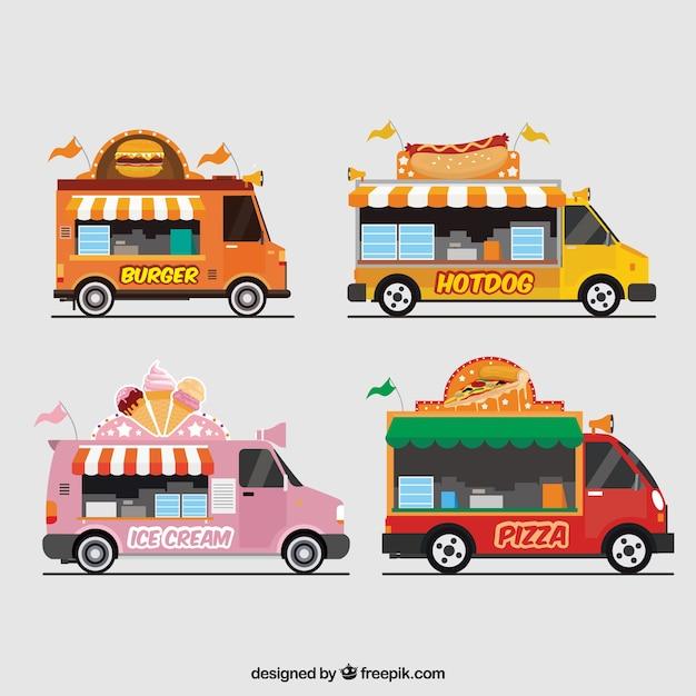 Пакет продовольственных грузовиков с навесами Бесплатные векторы