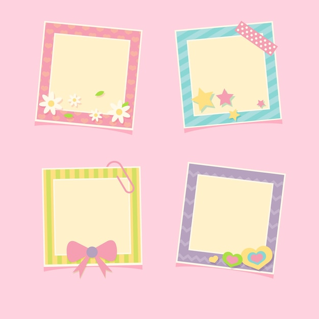 Pack of four beautiful photo frames Free Vector