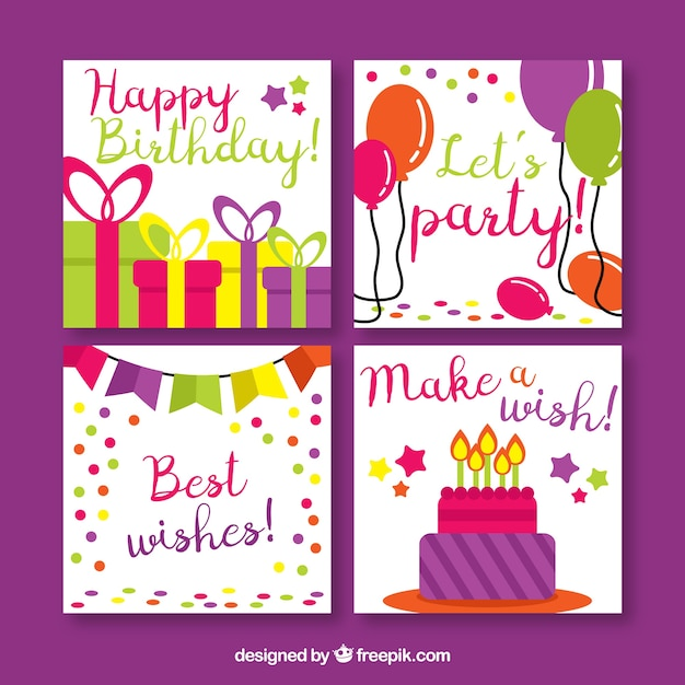 Pack of four birthday cards in flat design vector free download pack of four birthday cards in flat design free vector bookmarktalkfo Gallery