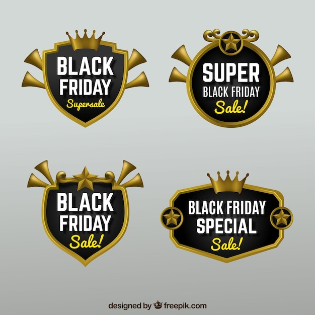 Pack of four black friday sale badges
