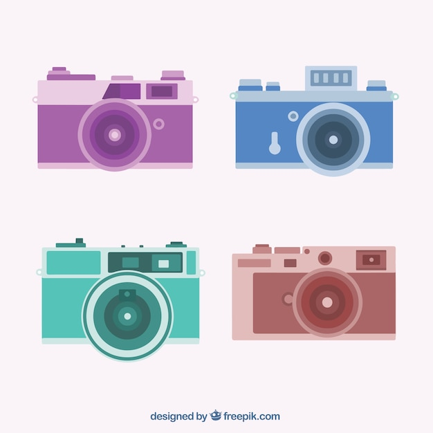 Pack of four cameras in flat design