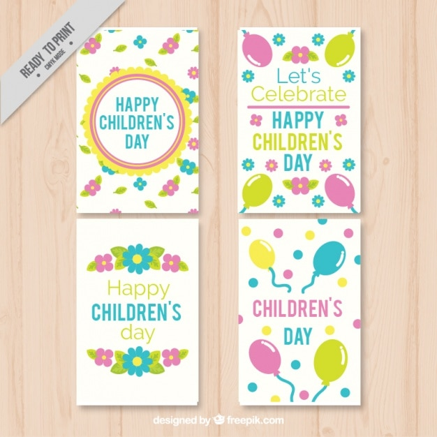 Pack of four cards children\'s day with flowers\ and balloons