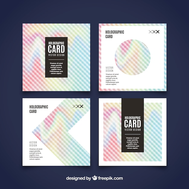 Pack of four cards with holographic effect