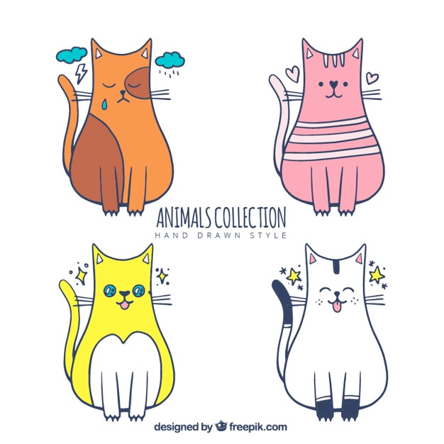 Pack of four cats with different designs Free Vector