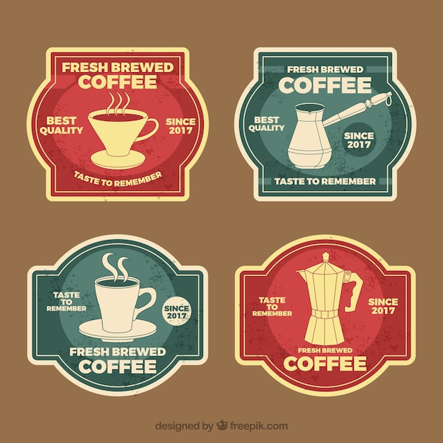 Pack of four coffee badges in vintage style
