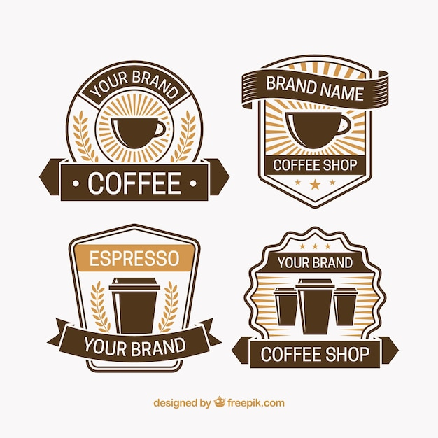 Pack of four coffee badges