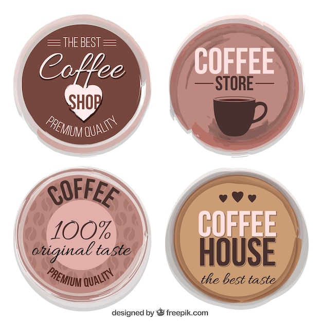 Pack of four coffee stickers in vintage\ style