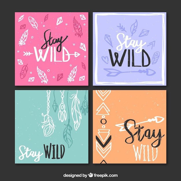 Pack of four colored cards with hand-drawn boho elements