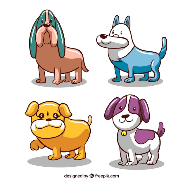 Pack of four colored dogs in hand-drawn style