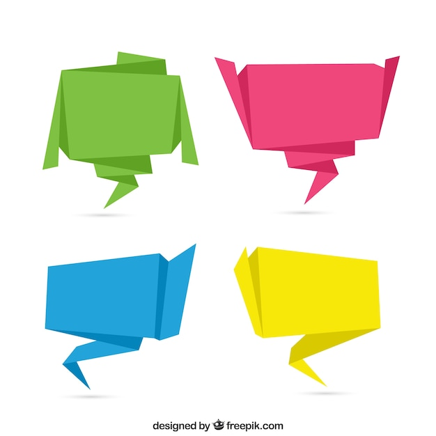 Pack of four colored origami speech bubbles