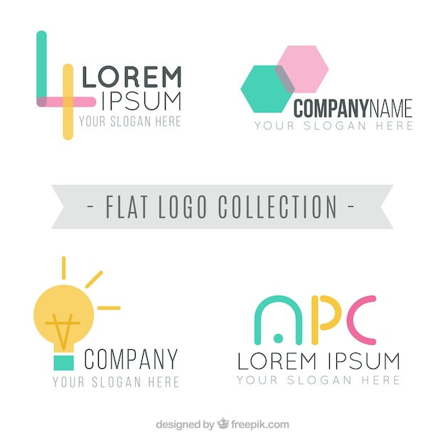 Pack of four company logos in flat design