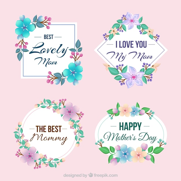 pack of four decorative labels with colored flowers vector free