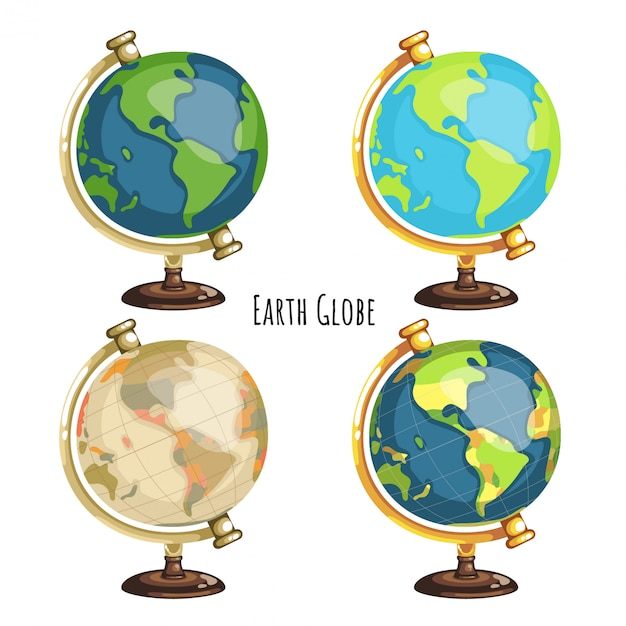 スタイルの異なる4つの地球儀のパック Premiumベクター