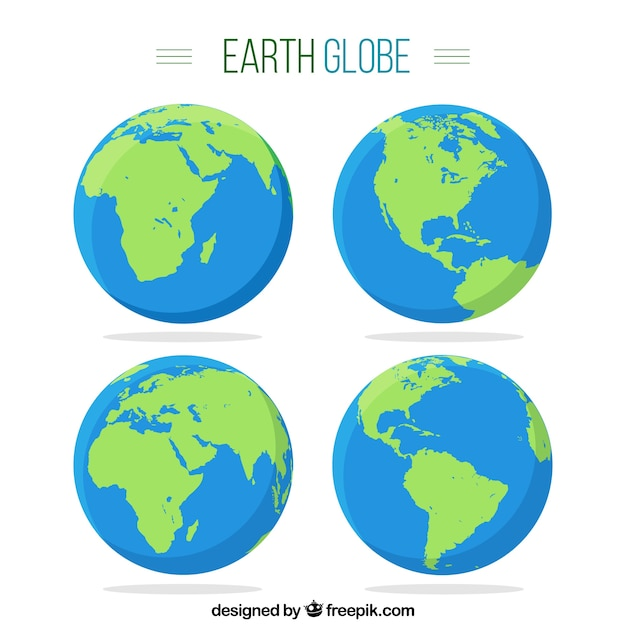 World map blue template vector free download pack of four earth globes sciox Choice Image