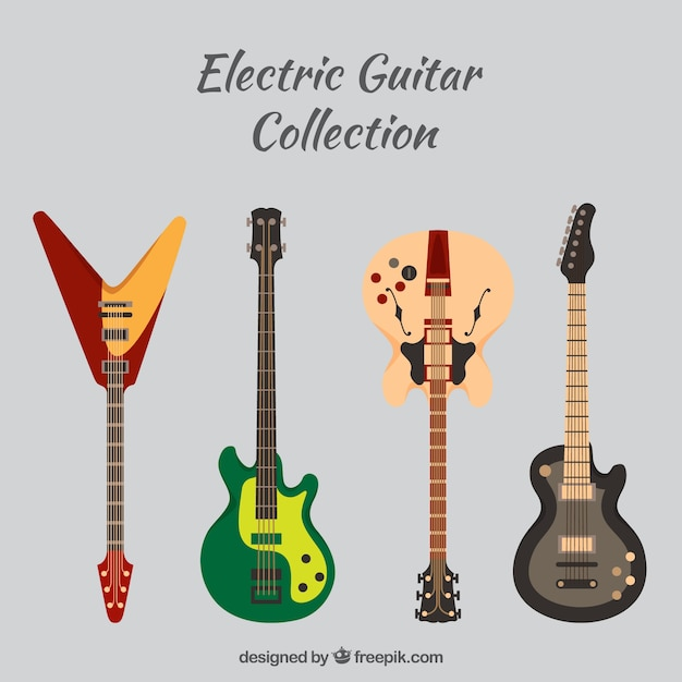 Pack of four electric guitars Vector | Free Download