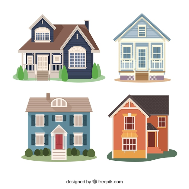 Pack Of Four Flat Houses With Different Designs Vector