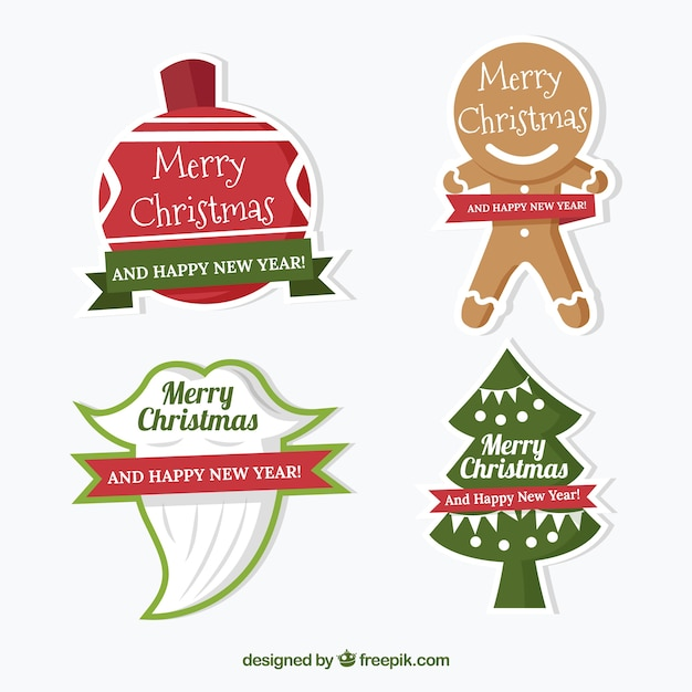 Pack of four funny christmas stickers