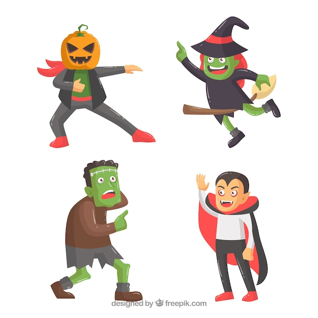 Pack of four funny halloween characters