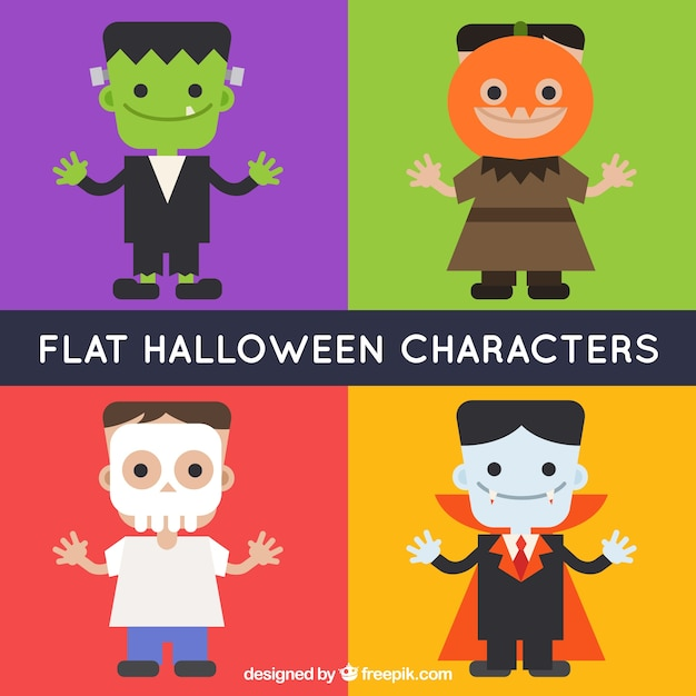 Flat Design Character Download : Pack of four halloween characters in flat design vector