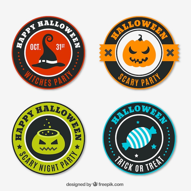 Pack of four halloween colored badges