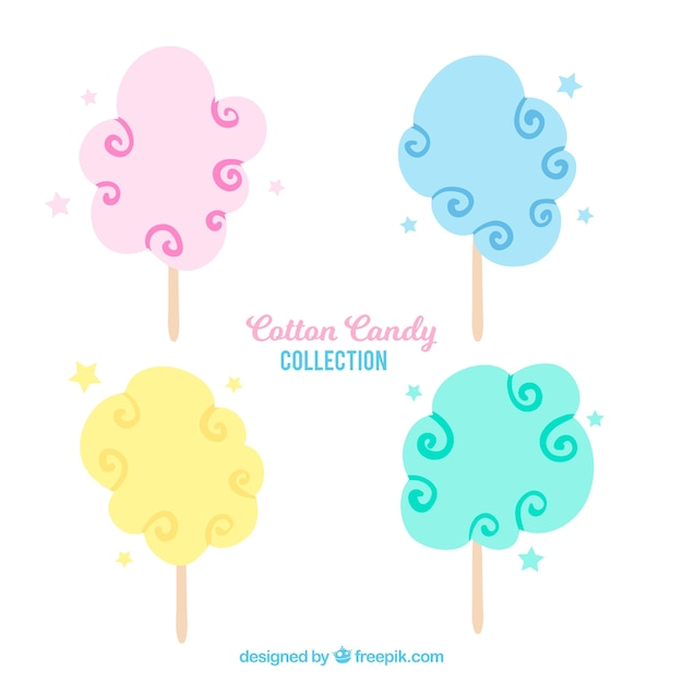 Pack of four hand drawn candy cotton