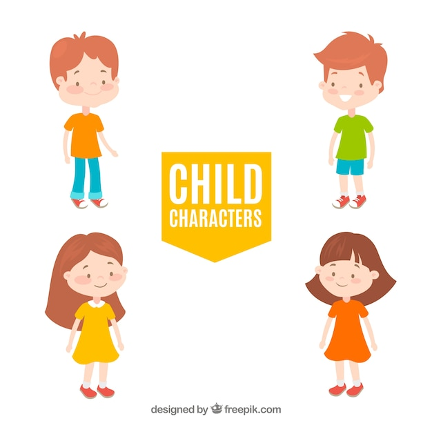 Pack of four hand drawn children  Free Vector