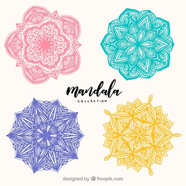Pack of four hand drawn colored mandalas