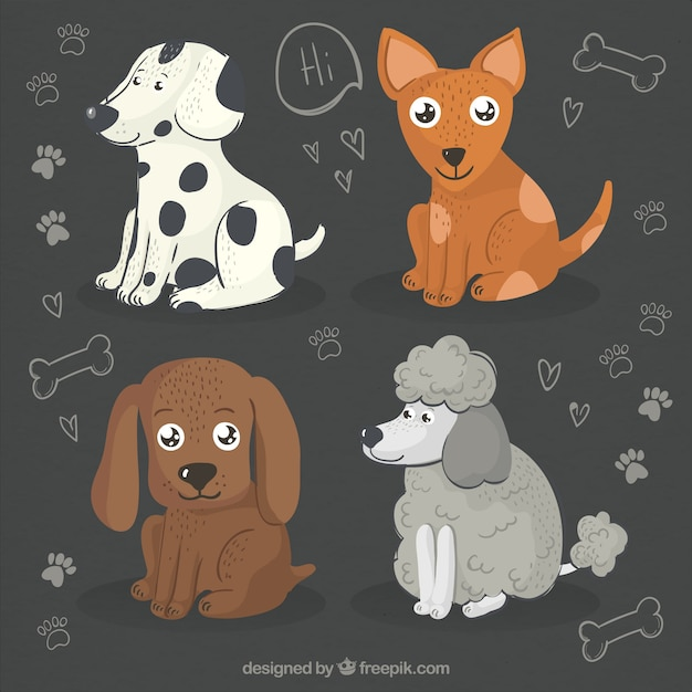 Pack of four hand-drawn cute dogs