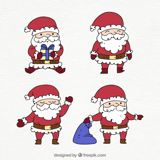 Pack of four hand drawn santa claus characters