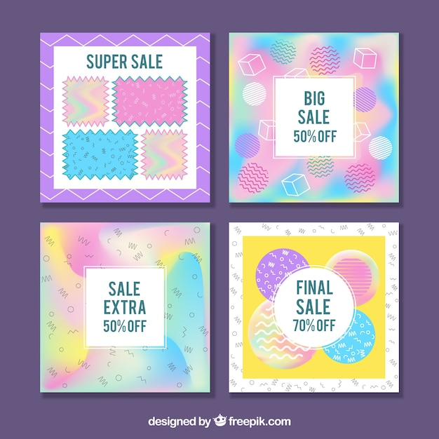 Pack of four holographic discount cards