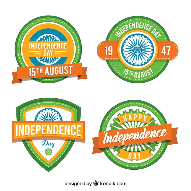 Pack of four india independence day badges