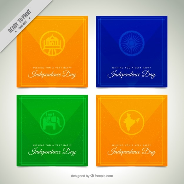 Pack of four india independence day cards