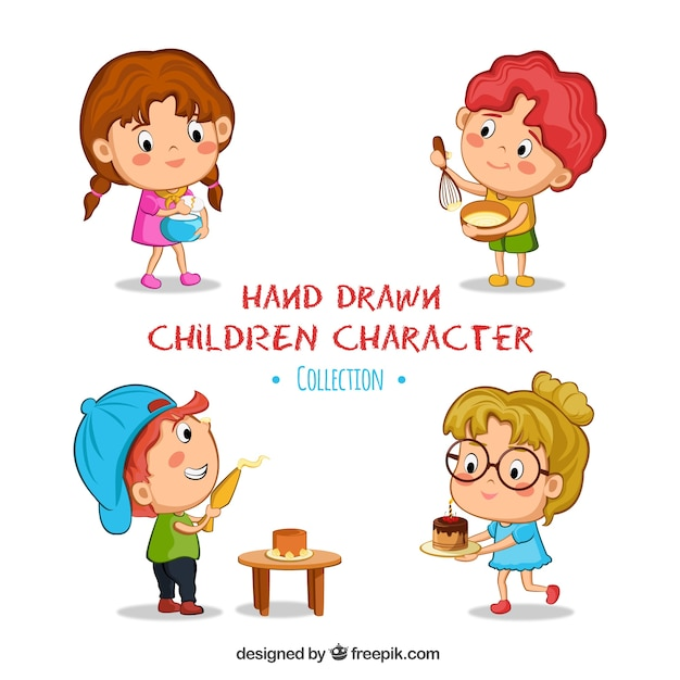 pack of four kids cooking free vector
