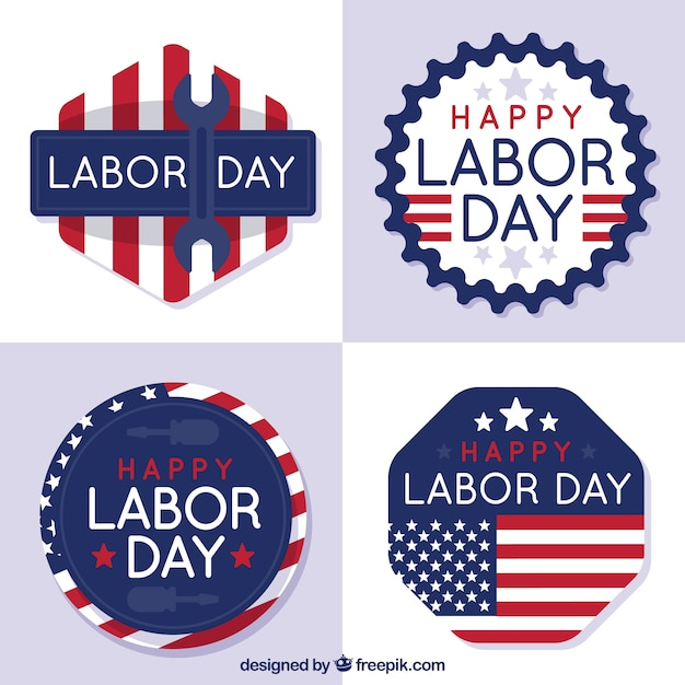 Pack of four labor day stickers in retro\ style
