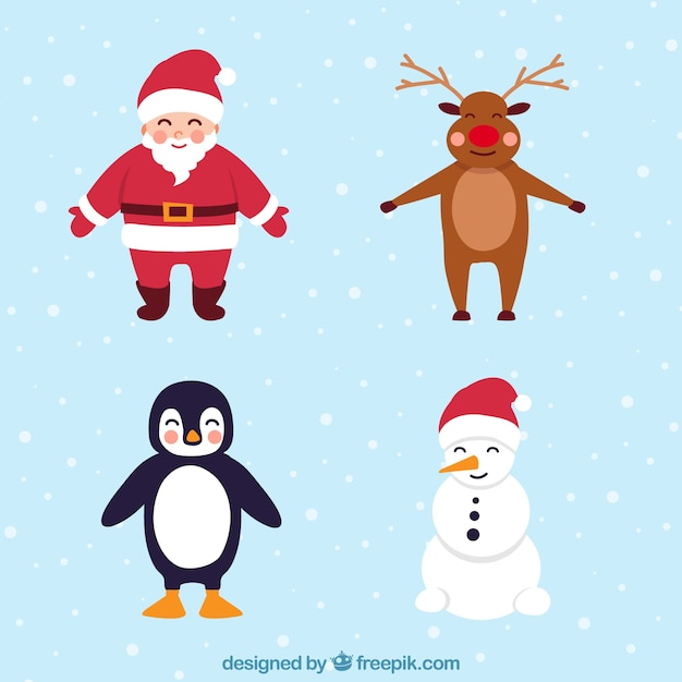 Pack of four lovely christmas characters