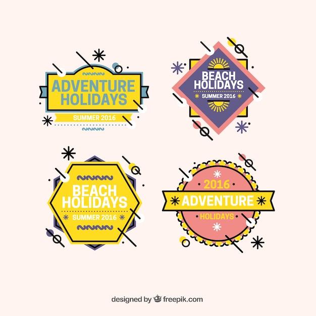 Pack of four modern summer badges