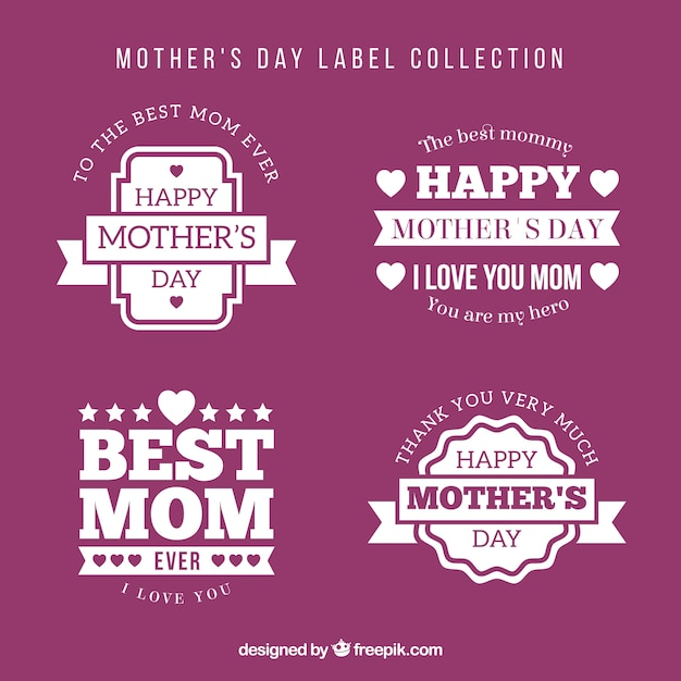 Pack of four mother\'s day labels in flat\ design