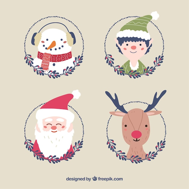Pack of four nice hand drawn christmas characters
