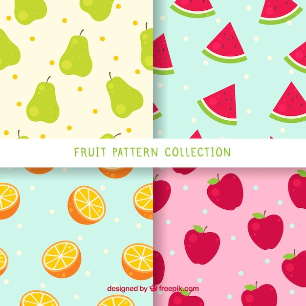 Pack Of Four Patterns With Colored Fruits Free Vector