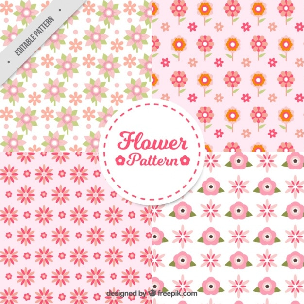 Pack of four patterns with pink flowers in flat\ design