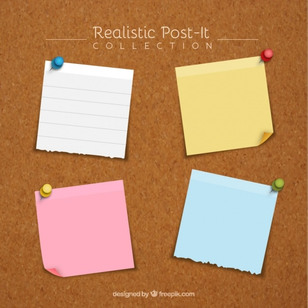 Pack of four realistic adhesive notes with thumbtacks Free Vector